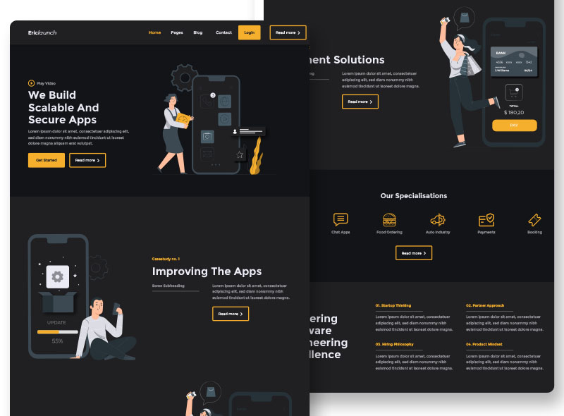 graphic design services dark mode website portfolio